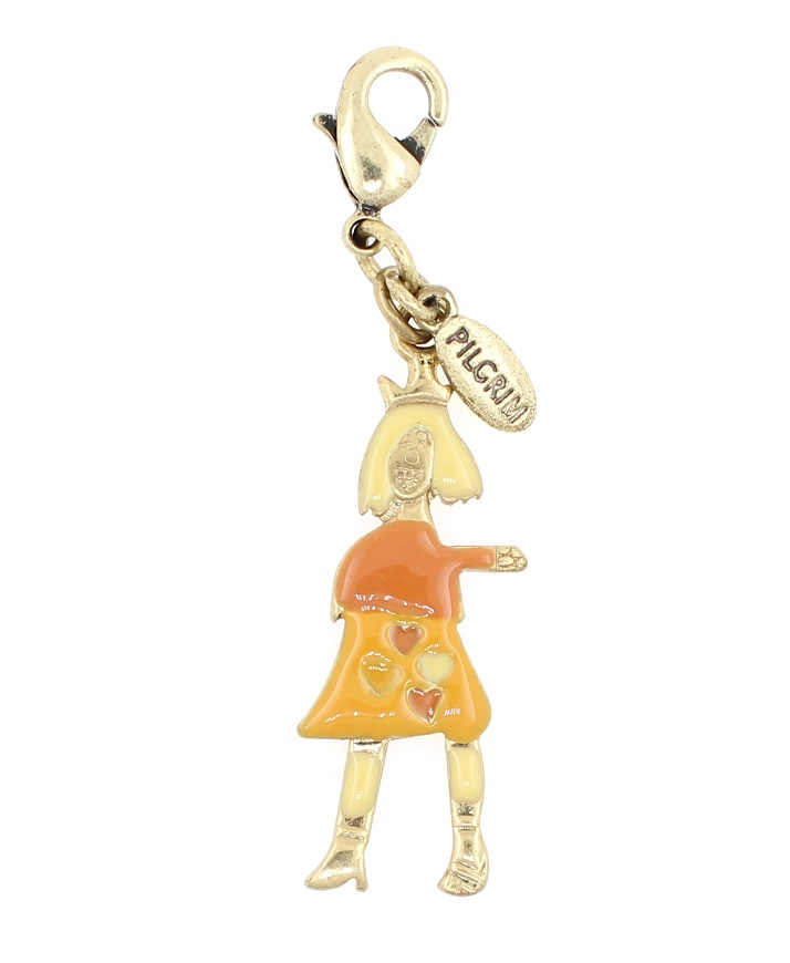 PILGRIM Happy Faces Girl Charm Amber/Peach/Gold