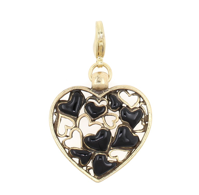 PILGRIM - Enamelled 'Lots of Love' Heart Charm - Black/Gold Plate BNWT