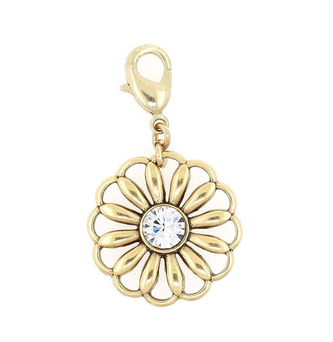 PILGRIM - Sea Flower Charm - Clear/Gold Plate BNWT