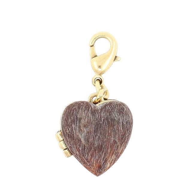 PILGRIM - Heartfelt Love Heart Locket - Wood/Gold Plate BNWT
