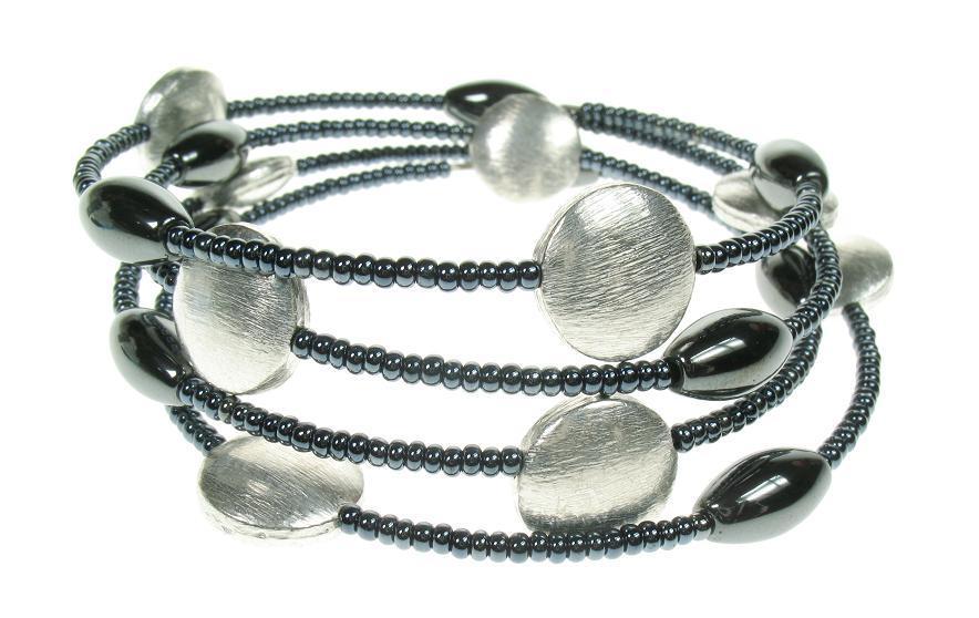 Silver & Haematite Wrap Bracelet
