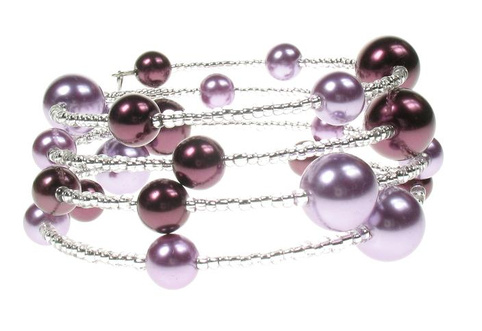 PINK 'Shades of Purple' Lunar Glass Pearl Bracelet Wrap