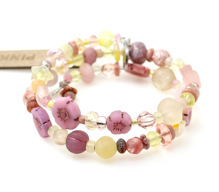 Pretty Pastel Pinks, Purples & Yellow Glass Mixture Double Loop Wrap Bracelet