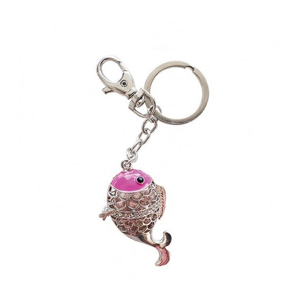 Bombay Duck - Crystal Fish Key Ring - Pink BNWT