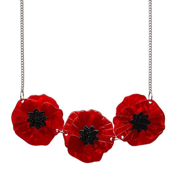 Poppy Field - Erstwilder Trio Flower Necklace