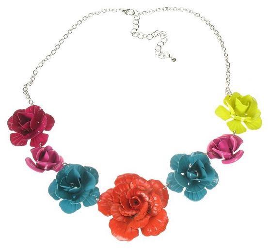 Vintage Coloured Metal Rose Necklace