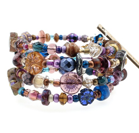 Zircon Blue, Teal, Amethyst & Gold Glass Bead Mix - 4 Loop Wrap Bracelet