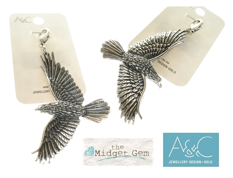 A & C - The Raven Bird Clasp-On Charm Silver Plate