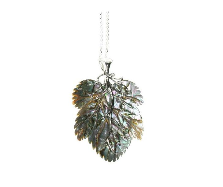 Abalone Leaf & Sterling Silver Pendant Necklace
