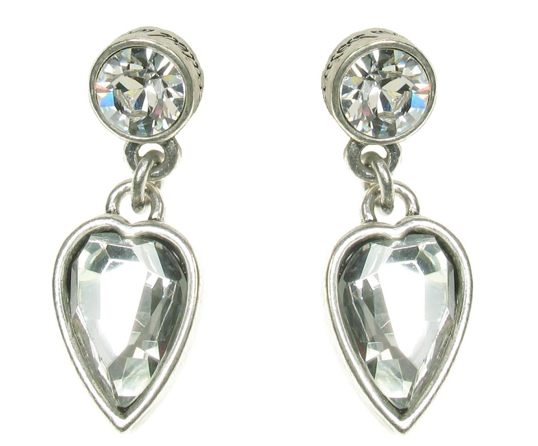 Silver Faceted Crystal Heart  Earrings By A & C