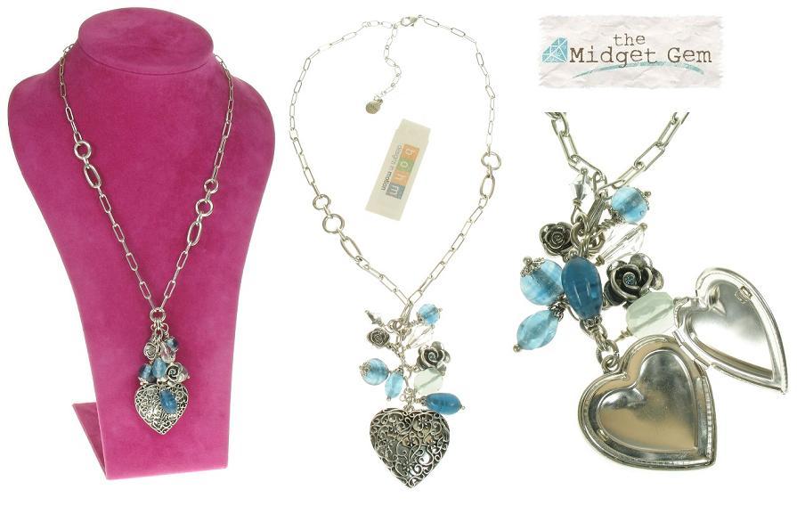 The Bohm - Summer Lovin' - Heart Locket & Rose Charm Cluster Necklace - Blue/Silver Plate