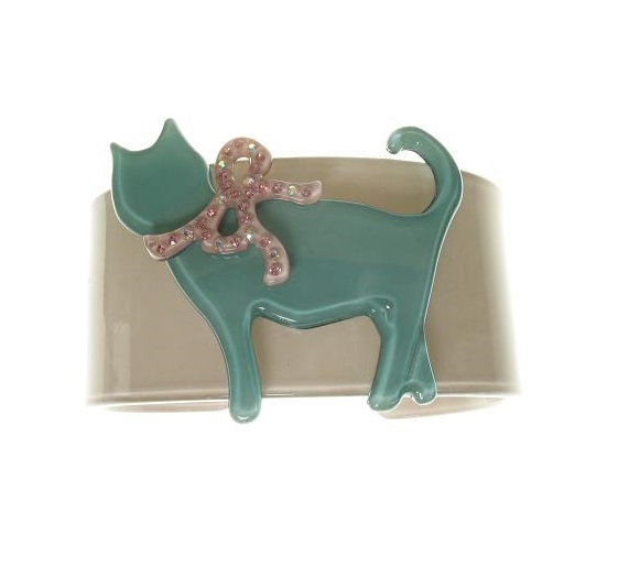 Sophisticated Grey & Turquoise Green Cat Cuff - BIG BABY Bangle