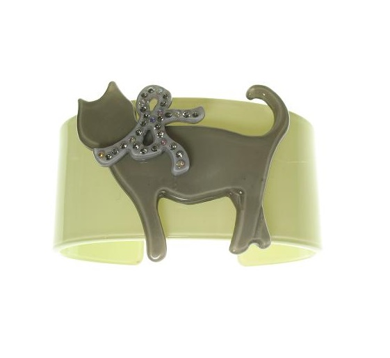 Sophisticated Green & Grey Cat Cuff - BIG BABY Bangle