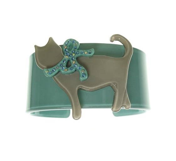 Sophisticated Turquoise Green & Grey Cat Cuff - BIG BABY Bangle