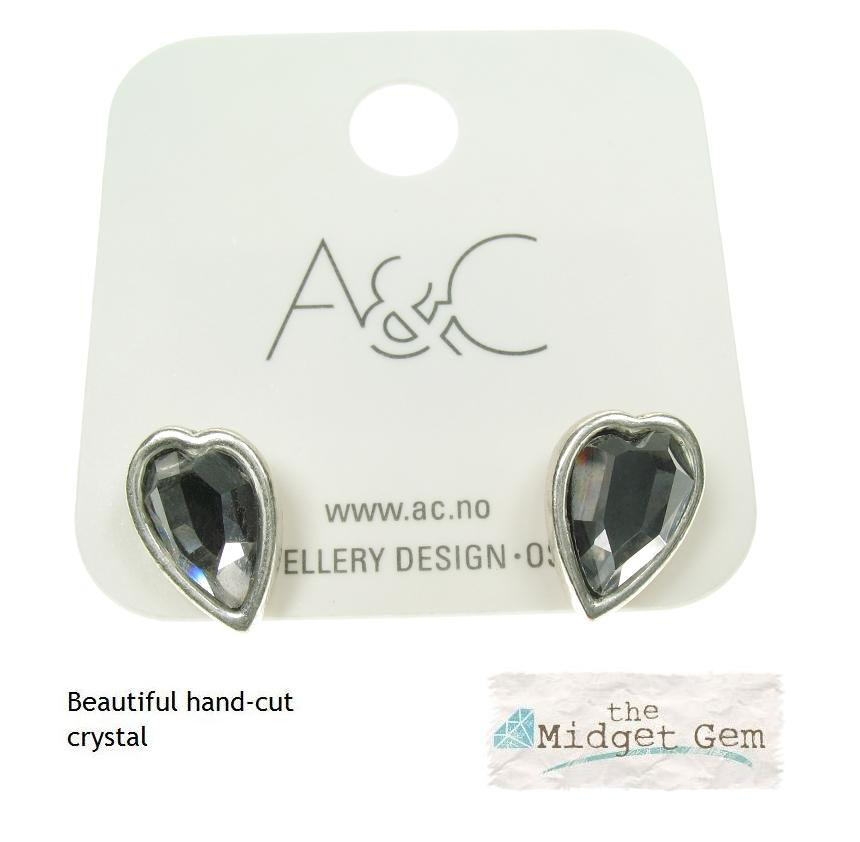 A & C - Silver Faceted Crystal Heart  Stud Earrings