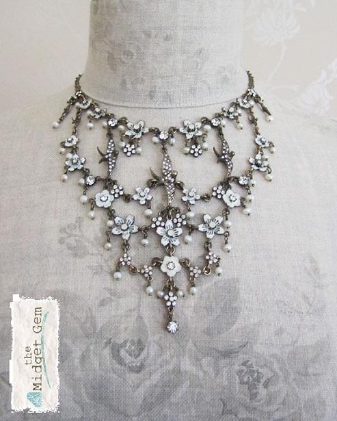 Elaborate Swallow & Flower Pilgrim Necklace White/Oxidised Bronze