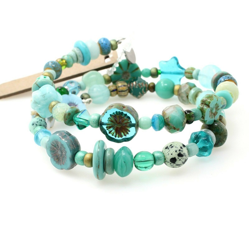 Ocean Green Turquoise Glass Bead Mixture Double Loop Wrap Bracelet