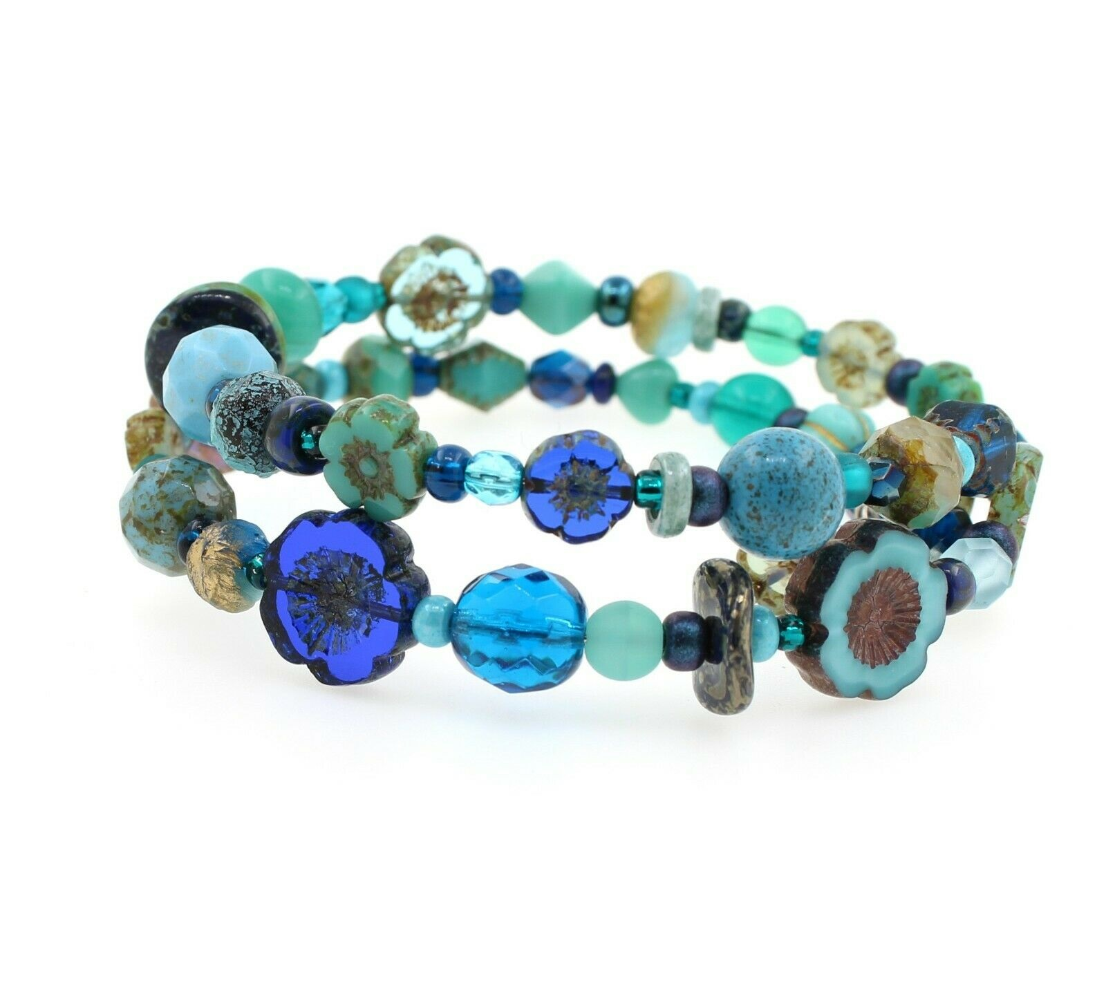 Navy & Turquoise Glass Mix Beads Double Loop Wrap Bracelet