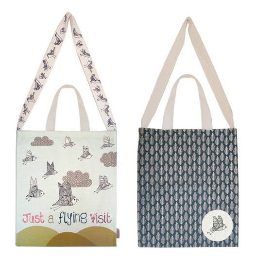 Wagtail Bird Canvas Tote Shopper or Shoulder BAG - Disaster Designs