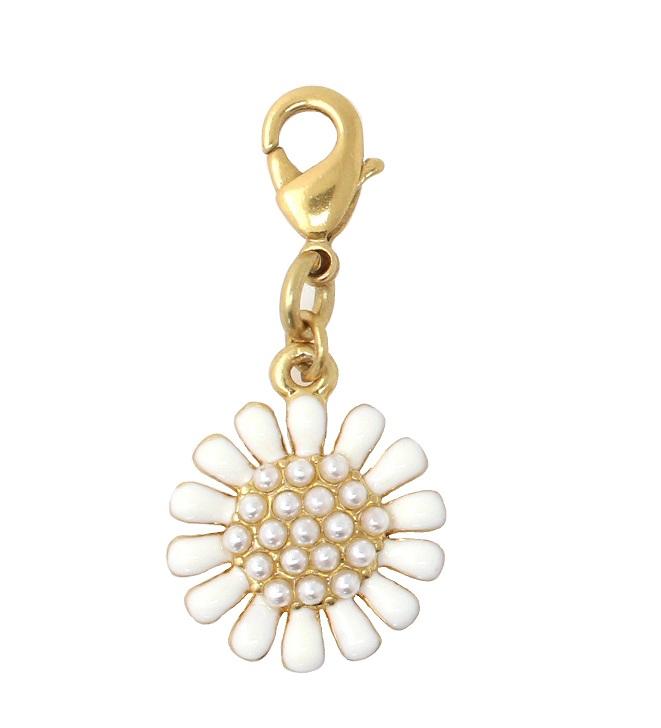 PILGRIM White/Gold Daisy Flower Charm