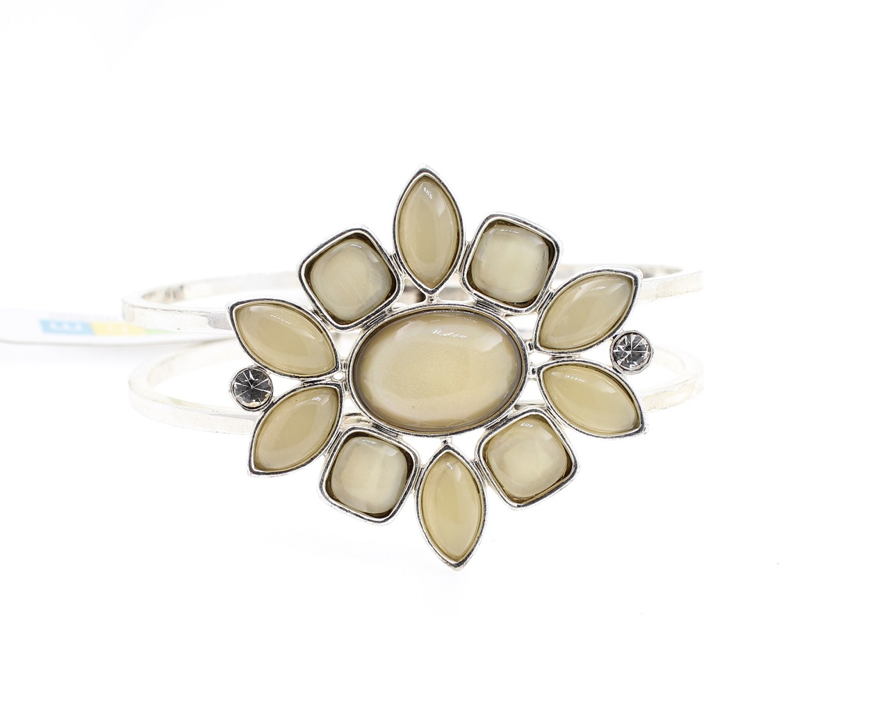 BOHM - Glass Petals Hinged Bangle - Oxidised Silver/White & Cream BNWT